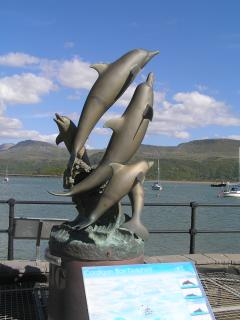 Statue of Cardigan bay dolphins at Barmouth harbour