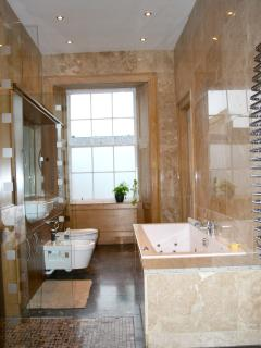Large Italian marble bathroom 1 with jacuzzi and a large rain shower