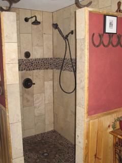 walk in travertine shower