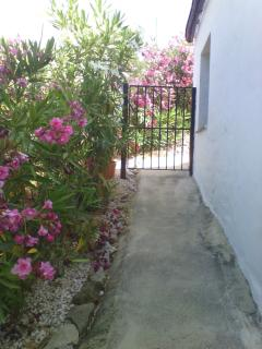 Path and gate into Casita Oleander