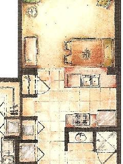 Smooshed drawing of 1 bedroom