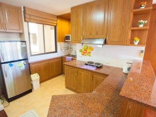 Fully fitted kitchen with large fridge, cooking, microwave & all utensils.
