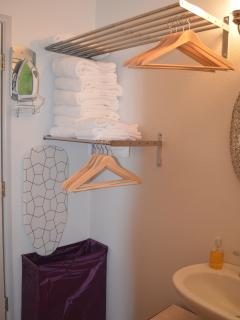 The hanging area for cloths,hamper, Iron & Ironing board are provided