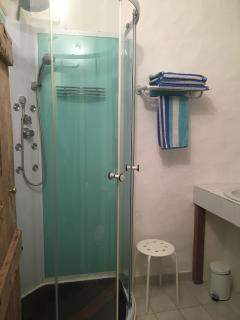 wide view of the shower
