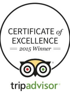 2015 Trip Advisor Certificate of Excellence winner