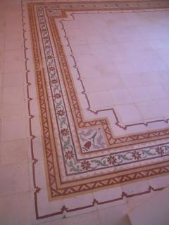 Particolare del pavimento della camera Ambra
