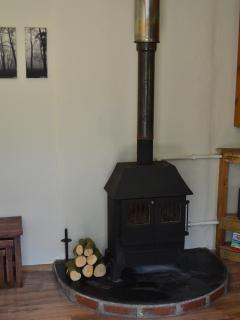 Wood burner in the lounge