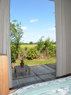 View from the double bed out to the field