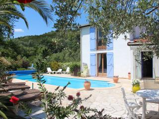 Private sunny villa with large heated pool and river access, Céret
