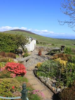 Front garden with views of Snowdonia and the Cambrian coast