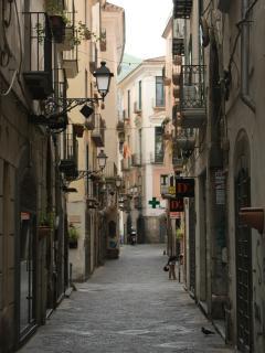 Salerno. Via dei Mercanti. Caratteristica strada storica della città ricca di botteghe.