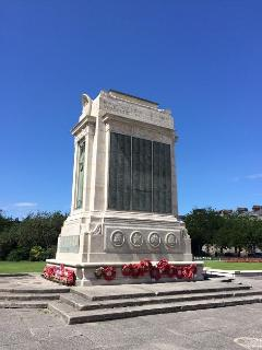The war memorial monument in the square