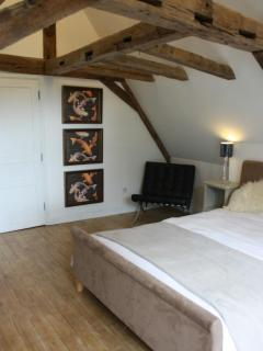 Bedroom . Large double bedroom with walk in wardrobe and en suite.