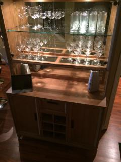 China cabinet with plenty of glasses