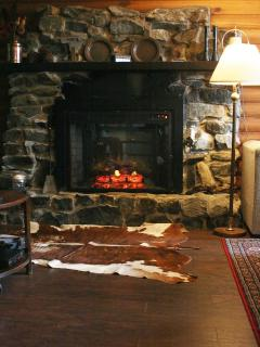 electric/stone fireplace makes the cottage toasty in minutes