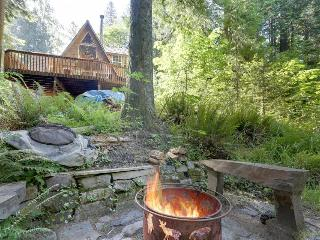 Cozy riverside cabin - warm & homey with jetted tub., Rhododendron