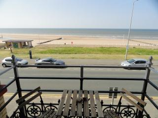 View of the sandy beach from the balcony.