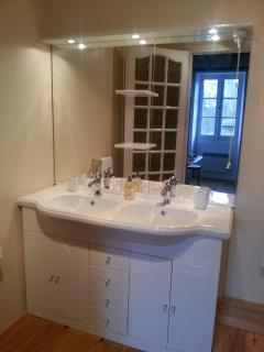 The new double sink vanity unit in the bathroom, smile