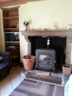 The wood burner stove keeps you cosy on a chilly evening