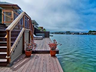 New construction home with large deck on Seadrift Lagoon
