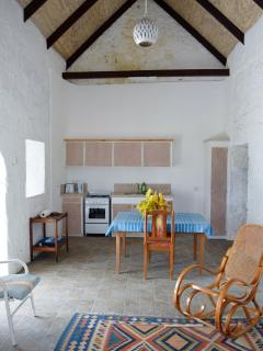 View of the kitchen area showing the old stonework and various cupboards