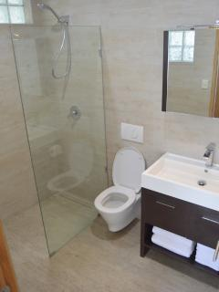 Bathroom with hot water power shower.