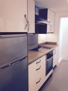 Recently installed kitchen with fridge freezer