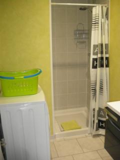 Salle de bain avec douche, lavabo, et lave-linge
