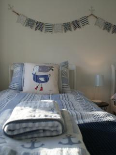 Coastal style bed linen and towels