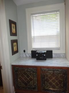 Back countertop area with stereo