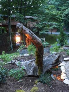 Cool lantern in tree stump