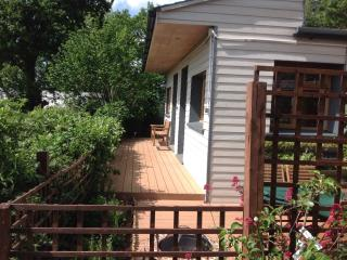 Decking and BBQ area providing plenty of space to sit and relax after long days cycling or walking