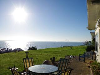 Panoramic, uninterrupted sea views from front garden across to Cowes and the east of The Solent