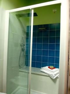 walk-in shower with fall