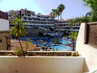 View over the pool from the front terrace