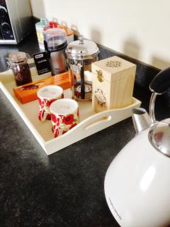 Proper coffee!  Beans, grinder, plunger.  Perfect start to the day!  Lovely tea choices too.