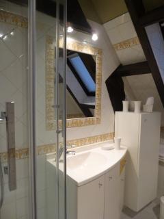 salle de bain donnant sur le jardin