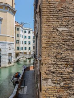 view from the Tosca apartment on the Fenice Theatre canal
