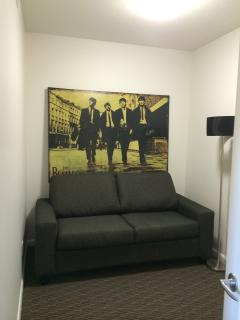 twin pullout couch in den