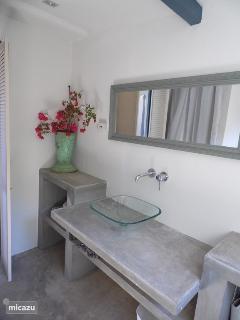 Wastafel met spiegel gezien vanuit de douche.
