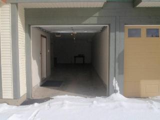 Inside the long tandem garage