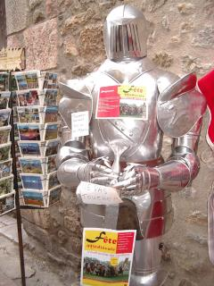 Suit of armour doing double duty as a billboard at Villefranche, 10 minutes away