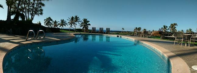 Looking from the end of the pool to the sea. The  salt-water chlorination - gentle on skin and eyes.