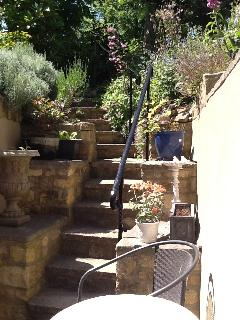 Steps up to garden