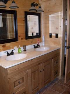 Master Bathroom on the main floor with shower and Jacuzzi tub