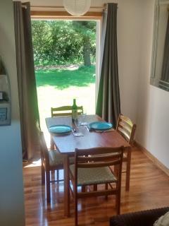 Dining area overlooking gardens