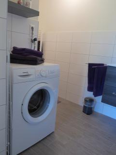 een wasmachine voor de mensen die langer blijven  en er is een gezamenlijke droger in de garage