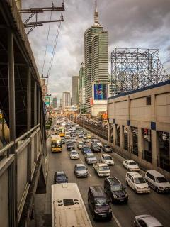 Edsa South bound traffic going towards Ortigas, Greenhills, Mandaluyong, Quezon City.