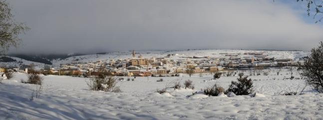 Panorámica de Orihuela con Nieve