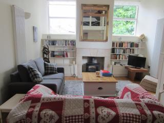 Sitting room from kitchen area, sofabed on the left
